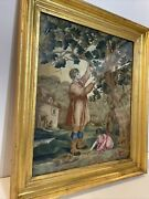 Antique English Needlepoint Man With Child Trimming Large Tree Circa 1820 Framed