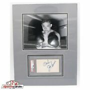 Joe Louis Psa/dna Signed 3x5 Index Card Matted W/ 8x10 Photo 14x18 Overall
