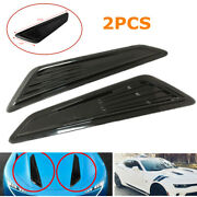 2pc Abs Car Front Hood Vents Decorative Cover Intake Air Vent Outlet Trim Cover
