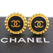 Logos Earrings Gold Black Clip-on 93 A France Vintage Authentic Ac918 S
