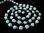 10 Feet Blue Opal Nuggets Tumble Beads Rosary Beaded Chain 24k Gold Plated5-8mm