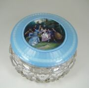 Unique Very Large Sterling Silver Gallant Scene Enamel And Cut Crystal Jar C.1900