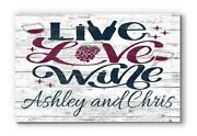 Customized Name Sign Live Love Wine Wood Farmhouse Décor For Kitchen, Wine Bar