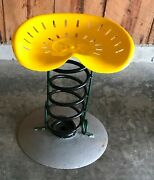 Vintage Recycled Stool Chair Metal Iron Tractor Seat Truck Spring