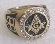 Mason Freemason Huge Gold Tone Costume Ring Size 14 Nice Masonic Blue Lodge