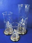 Set Of 3 Wolfard Oil Lamps Hand Blown Glass 12andrdquo 9andrdquo And 6 + 3 Brass Bases