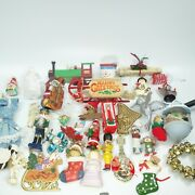 Large Lot Vintage And Modern Christmas Ornaments Jdl Snowman Train Music Angel Cat