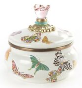 Mackenzie-childs Butterfly Garden Squashed Pot With Blue Ring - Discontinued