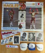 18 Marvelous Marvin Hagler Boxing Collection Posters Photos Pennant Caps Program