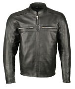 M Boss Motorcycle Apparel Bos11509 Menand039s Black Armored Leather Cafe Racer Jacket