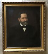 Antique Oil On Canvas Portrait Of Colonel William L. Strong By Franklin Tuttle
