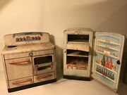 Vintage Mar Tin Children's Kitchen Toy Stove Oven And Refrigerator