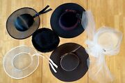 Vintage Lot / Collection — 6 Women Hats — Wool, Straw, Mesh And Persian Lamb