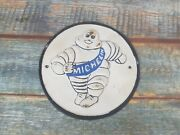 Vintage Cast Iron Adverising Plate Collectable Michelin Man Circular Plate