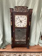 Silas Hoadley Upside-down Wooden Works Antique Clock Woodworks Movement And Alarm