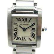 Auth Tank Francaise Sm Watch Stainless Steel White 7285