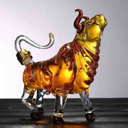 Unique Whiskey Decanter Glass Crystal Bottle Display Dispenser Wine Cow Bull