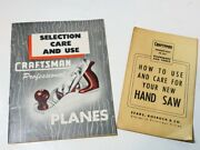Two 1950's Vintage Craftsman Brochures - Care And Use Of Hand Planes And Hand Saw