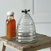 New Primitive Farmhouse Cottage Honey Bee Hive Canister Jar Clear Glass Crock 8