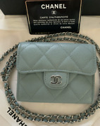 New Card Holder Clutch With Chain Pale Blue Caviar Leather Mini Woc 20b