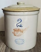Vtg Atq 2 Gallon Red Wing Large Stone Crock Pot W/ Matching Daisy Button Lid