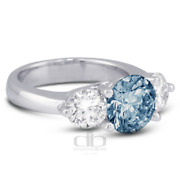 1.33 Ct Blue Si2 Round Natural Certified Diamonds Plat Classic Three Stone Ring