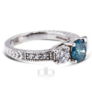 1.47ct Tw Blue Si2 Round Natural Certified Diamonds Plat Classic Engagement Ring