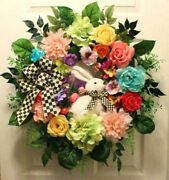 Country Cottage Mackenzie Childs Ribbon Bunny Floral Door Wreath Spring Summer