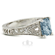 1.60 Ct Blue Si2 Radiant Natural Diamonds 14k Vintage Style Side Stone Ring