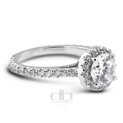 1.62ct Tw G/si1 Round Natural Certified Diamonds 14k Gold Halo Side Stone Ring