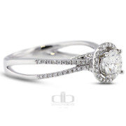 0.86ct Tw F/vs2 Round Cut Natural Certified Diamonds 18k Gold Halo Accent Ring