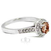 1.21ct Tw Red Si1 Round Earth Mined Certified Diamonds Plat Halo Side Stone Ring