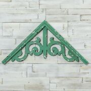 New Farmhouse Vintage Aged Green Corbal Gable Gate Arch Gingerbread Wall Hanging