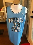 Indiana State Sycamores 33 Larry Bird Light Blue Throwback College Jersey