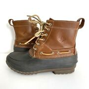 Sperry Top-sider Decoy Duck Boots Waterproof Brown Leather Lace-up Men's 10m