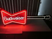 Vintage Budweiser Beer Sign Bow-tie Guitar Neon Rare Local Pickup Please Read