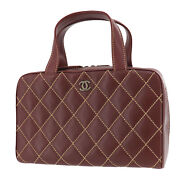 Wild Stitch Quilted Tote Hand Bag Brown Leather Italy Authentic Ad21 O