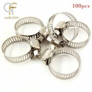 3/4-1stainless Steel Adjustable Drive Hose Clamps Fuel Line Worm Clips 100 Pcs
