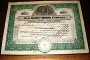 New Quincy Mining Co Stock Certificate 1929 Park City Utah Silver Copper Gold