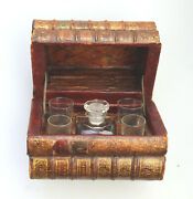 A Scarce Antique Novelty Drinking Set Contained In Secret Stack Of Books C.1890