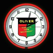 19 Oliver Tractor Farm Machinery Sign Red Double Neon Wall Clock Man Cave