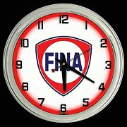 16 Fina Gas Oil Station Sign Red Neon Clock