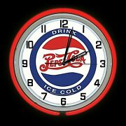 19 Drink Pepsi Ice Cold Border Sign Red Double Neon Clock Bar Man Cave Garage