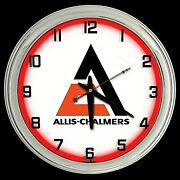 16 Allis-chalmers Tractor Nostalgic Sign Red Neon Wall Clock Garage Man Cave