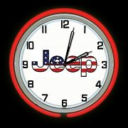 19 Jeep American Flag Sign Red Double Neon Clock Man Cave Garage