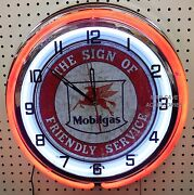 18 Mobil Socony Pegasus Mobilgas The Sign Of Friendly Service Double Neon Clock