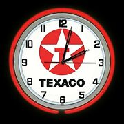 19 Texaco Star Sign Double Red Neon Clock Man Cave Garage Gas Oil Gasoline