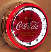 18 Drink Coca-cola Delicious And Refreshing Coke Sign Double Neon Clock