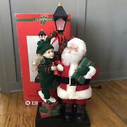 """1993 Holiday Creations Lighted Lamppost Santa Claus With Child Girl Animated 27"""""""