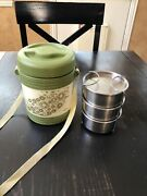 Milton Insulated Tiffin 3 Tier - Keep Food Hot Lunch Bucket Strap India Vintage